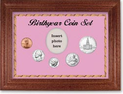 1975 Birth Year Coin Gift Set with a pink background and cherry frame THUMBNAIL