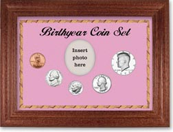 1979 Birth Year Coin Gift Set with a pink background and cherry frame THUMBNAIL