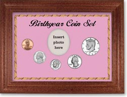 1982 Birth Year Coin Gift Set with a pink background and cherry frame THUMBNAIL
