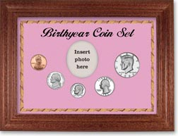 1983 Birth Year Coin Gift Set with a pink background and cherry frame THUMBNAIL