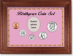 1985 Birth Year Coin Gift Set with a pink background and cherry frame THUMBNAIL