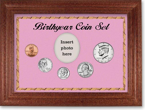 Birth Year Coin Gift Set with pink background and cherry frame LARGE