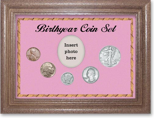 1936 Birth Year Coin Gift Set with a pink background and dark oak frame LARGE