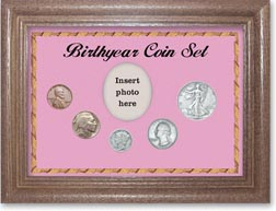 1936 Birth Year Coin Gift Set with a pink background and dark oak frame THUMBNAIL