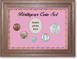 1937 Birth Year Coin Gift Set with a pink background and dark oak frame THUMBNAIL