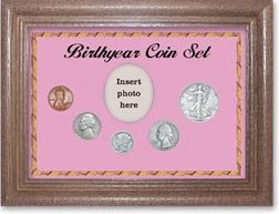 1938 Birth Year Coin Gift Set with a pink background and dark oak frame THUMBNAIL