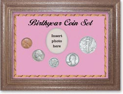 1939 Birth Year Coin Gift Set with a pink background and dark oak frame THUMBNAIL
