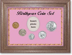 1940 Birth Year Coin Gift Set with a pink background and dark oak frame THUMBNAIL