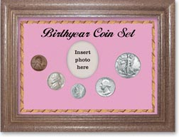 1941 Birth Year Coin Gift Set with a pink background and dark oak frame THUMBNAIL