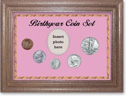 1942 Birth Year Coin Gift Set with a pink background and dark oak frame THUMBNAIL