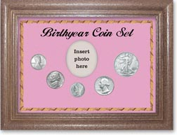 1943 Birth Year Coin Gift Set with a pink background and dark oak frame THUMBNAIL