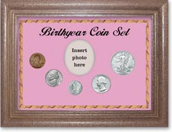 1944 Birth Year Coin Gift Set with a pink background and dark oak frame THUMBNAIL