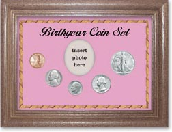 1947 Birth Year Coin Gift Set with a pink background and dark oak frame THUMBNAIL