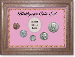 1948 Birth Year Coin Gift Set with a pink background and dark oak frame THUMBNAIL