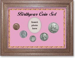 1950 Birth Year Coin Gift Set with a pink background and dark oak frame THUMBNAIL