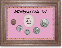 1953 Birth Year Coin Gift Set with a pink background and dark oak frame THUMBNAIL