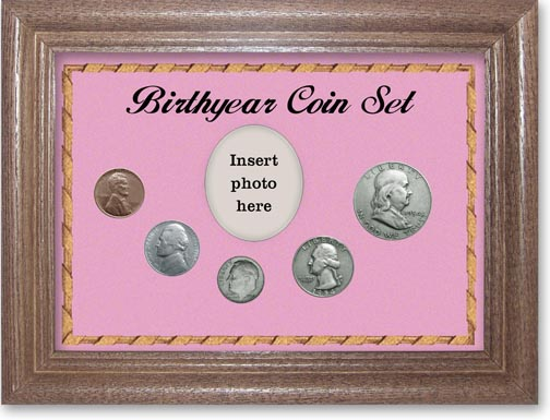 1954 Birth Year Coin Gift Set with a pink background and dark oak frame LARGE