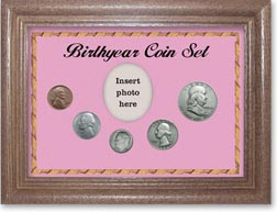 1954 Birth Year Coin Gift Set with a pink background and dark oak frame THUMBNAIL