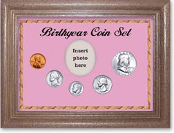 1957 Birth Year Coin Gift Set with a pink background and dark oak frame THUMBNAIL