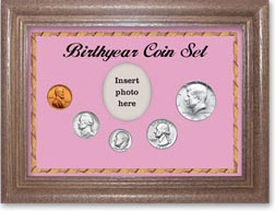 1965 Birth Year Coin Gift Set with a pink background and dark oak frame THUMBNAIL
