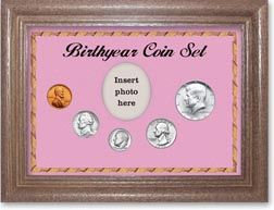 1966 Birth Year Coin Gift Set with a pink background and dark oak frame THUMBNAIL