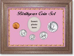 1967 Birth Year Coin Gift Set with a pink background and dark oak frame THUMBNAIL