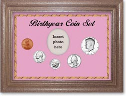 1970 Birth Year Coin Gift Set with a pink background and dark oak frame THUMBNAIL
