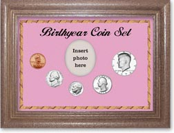 1974 Birth Year Coin Gift Set with a pink background and dark oak frame THUMBNAIL