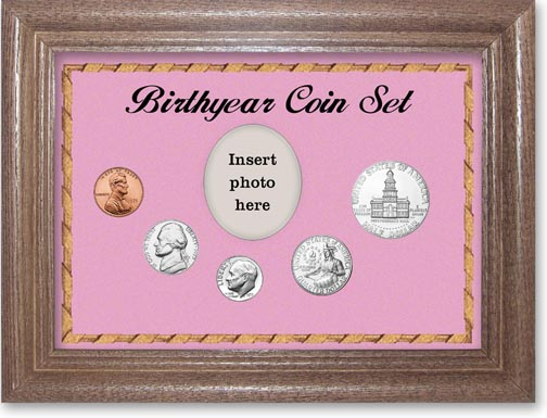 1975 Birth Year Coin Gift Set with a pink background and dark oak frame LARGE