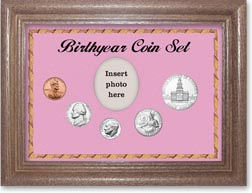 1975 Birth Year Coin Gift Set with a pink background and dark oak frame THUMBNAIL