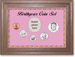 1977 Birth Year Coin Gift Set with a pink background and dark oak frame THUMBNAIL