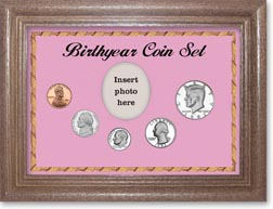 1982 Birth Year Coin Gift Set with a pink background and dark oak frame THUMBNAIL