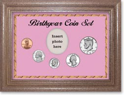 1983 Birth Year Coin Gift Set with a pink background and dark oak frame THUMBNAIL
