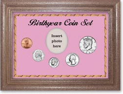 1985 Birth Year Coin Gift Set with a pink background and dark oak frame THUMBNAIL