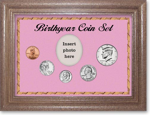 Birth Year Coin Gift Set with pink background and dark oak frame LARGE