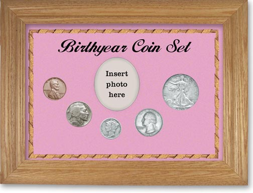 1934 Birth Year Coin Gift Set with a pink background and wheat frame LARGE