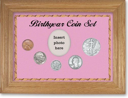 1935 Birth Year Coin Gift Set with a pink background and wheat frame LARGE