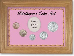 1936 Birth Year Coin Gift Set with a pink background and wheat frame THUMBNAIL