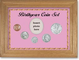 1938 Birth Year Coin Gift Set with a pink background and wheat frame THUMBNAIL