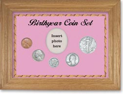 1939 Birth Year Coin Gift Set with a pink background and wheat frame THUMBNAIL