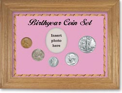 1940 Birth Year Coin Gift Set with a pink background and wheat frame THUMBNAIL