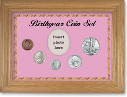 1941 Birth Year Coin Gift Set with a pink background and wheat frame THUMBNAIL