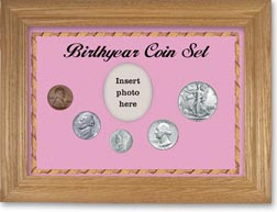 1942 Birth Year Coin Gift Set with a pink background and wheat frame THUMBNAIL