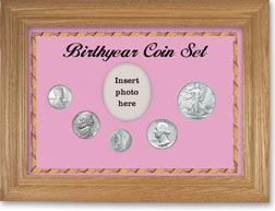1943 Birth Year Coin Gift Set with a pink background and wheat frame THUMBNAIL