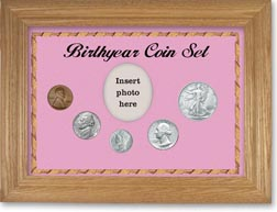 1944 Birth Year Coin Gift Set with a pink background and wheat frame THUMBNAIL