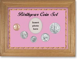 1946 Birth Year Coin Gift Set with a pink background and wheat frame THUMBNAIL