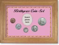 1948 Birth Year Coin Gift Set with a pink background and wheat frame THUMBNAIL