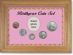 1950 Birth Year Coin Gift Set with a pink background and wheat frame THUMBNAIL