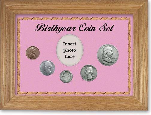 1951 Birth Year Coin Gift Set with a pink background and wheat frame LARGE