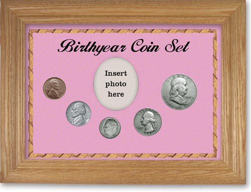 1953 Birth Year Coin Gift Set with a pink background and wheat frame LARGE